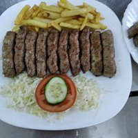kebabs with fries