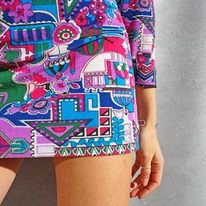 Vintage 1960s Op Art Mini Dress