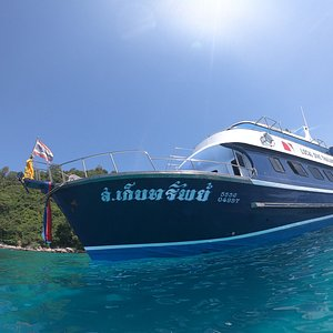 Our own Phuket scuba diving boat. Purpose built, comfortable and run smoothly with our super team