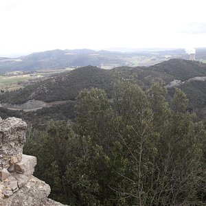 """View from the ruins of the Hermitage (""""Eremo"""") towards the upper valley of the Cecina river. Among other things, you can see - on the skyline of the second hill - the Rocca (manor) of Sillano."""