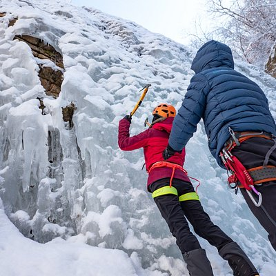 Learning how to swing an ice axe.