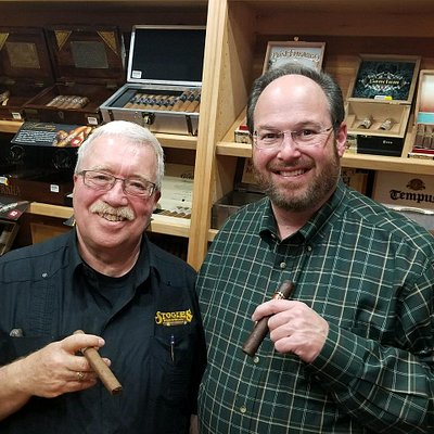 """Stogie Mike"" (Managing Partner) and ""Chicken"" (Owner). Come and see us,."