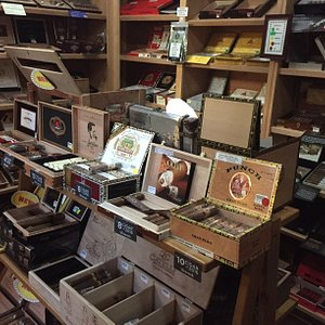 Ample walk-in humidor. Take a look around, then relax with us for a while.
