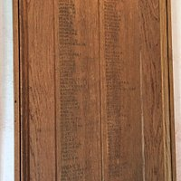11.  Church of St Mary the Virgin, Ticehurst, East Sussex;  Roll of Honour board inside the porch of some of the village people who served in HM Forces during the Second World War