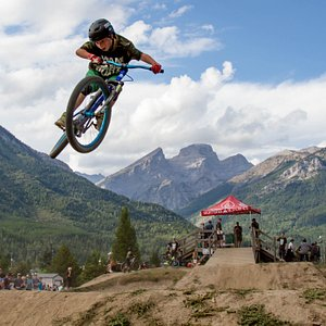 Youth rider competing in the WAM BAM Dirt Jump Jam event held on Labour Day Weekend each year.