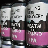 Some cans of the Death By Tango Palling Bros Indian Pale Ale