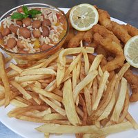 Slices of breaded squid with red bean rice and chips