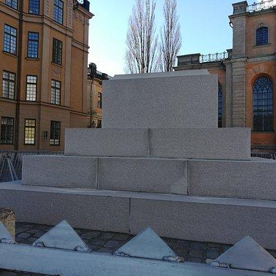 Obelisc at Slottsbacken, Gamla Stan, Стокгольм, февраль.