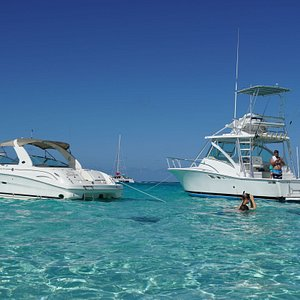 Both of our beautiful boats at the sandbar.