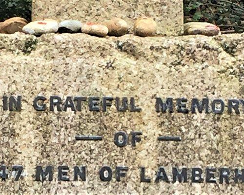 16.  Lamberhurst Village War Memorial, Lamberhurst, Kent;  pebbles placed on the memorial