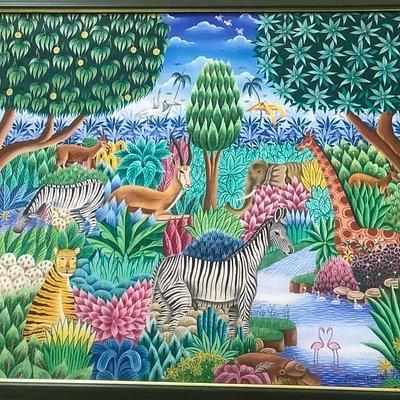 Toute la beauté de l Afrique résumé dans ce tableau réalisé à Grand Bassam (collection privée)
