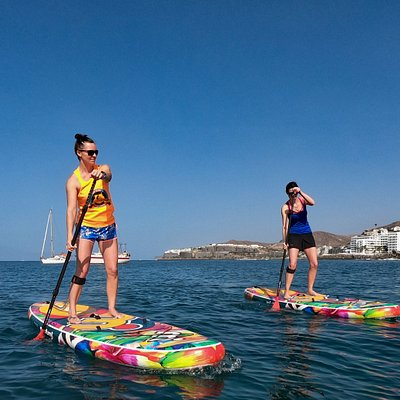 paddling in bay of Playa de las  Marañuelas