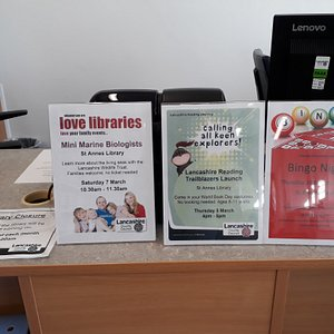 St Annes Library Reception desk and events