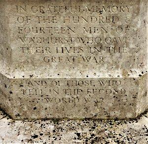 1.  Wadhurst War Memorial and Jardin d'Aubers, Wadhurst, East Sussex