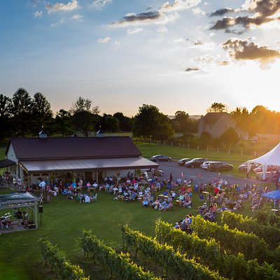 Sunset over our Music in the Vines Series–a FREE summer-long concert series.