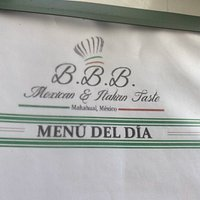 Name of Restaurant and part of the menu
