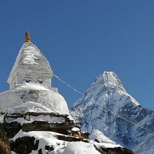 Ama bablam mountain  and stupa  in Everest region