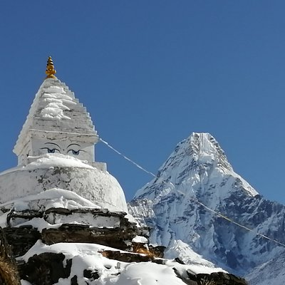 Ama bablam mountain  and stupa  in Everest region