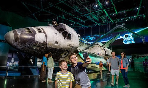 Atlantis is displayed as only astronauts have seen her in space, rotated 43.21 degrees with payload doors open and Canadarm extended, as if just undocked from the International Space Station (ISS). One of three space-flown shuttles displayed in the United States, Space Shuttle Atlantis® showcases the orbiter spacecraft and tells the story of NASA's 30-year Space Shuttle Program.