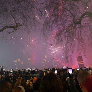 Fireworks display by London Eye
