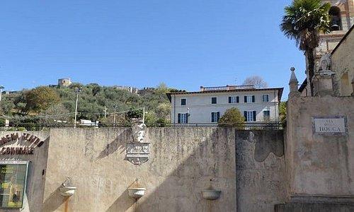Fontane di marzocco: Tre piccola e una grande a lato della salita per la rocca di Sala, in fondo a piazza del Duomo, Pietrasanta.