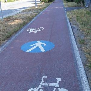 un tratto di pista ciclabile-pedonale lungomare lato monti