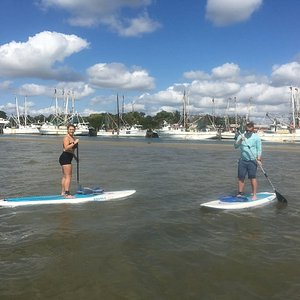 Exploring and paddling along the shallows and sand bar by the Shrimp Boat Fleet in Matanzas Harbor