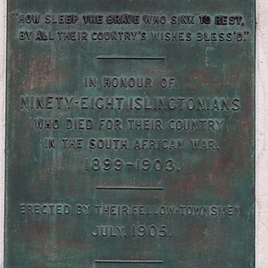 """Plaque - In honour of 98 Islingtonians: """"How sleep the brave who sink to rest, by all their country's wishes bless'd."""""""