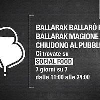 Da stasera Ballarak chiude al pubblico. Abbiamo deciso di andare oltre le misure contenute nel recente DPCM richieste al mondo della ristorazione.  Lo facciamo come atto di responsabilità nei confronti dei clienti e della collettività tutta.  Per affrontare insieme questa brutta storia che, speriamo, si risolva prestissimo, vi garantiamo su Socialfood il menu completo e le vostre birre, 7 giorni su 7, dalle 11:00 alle 24:00.