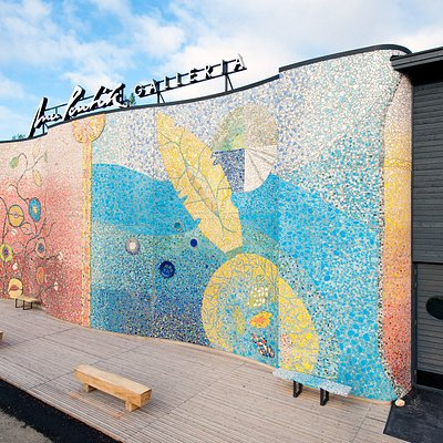 The Gallery's facade features a stunning ceramic installation.