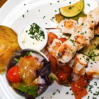 Chicken Skewers with Roasted Vegetables