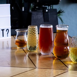 A selection of just some of the styles of signature glassware we offer!