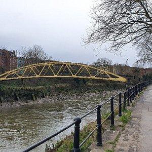 "The Grade II listed bridge, nicknamed ""The Banana Bridge"" due to its colour and shape."
