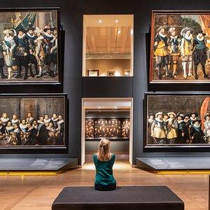 Portrait Gallery groepsportretten van de 17e eeuw (zaal beneden).