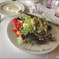 FArm House salad, with baby strawberries and bits of beets!  Very delicious.