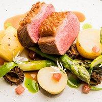 Herdwick Lamb, Wye Valley Asparagus, Jersey Royal Potato, Morel Mushroom