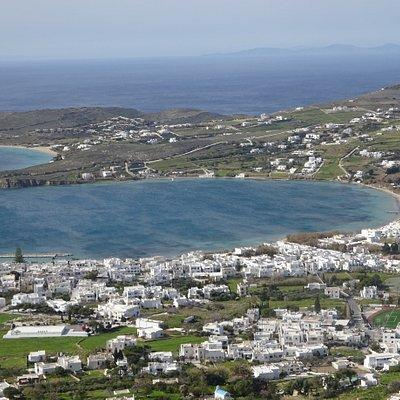 View of Parikia Bay from the Holy Monastery of Agioi Anargyroi - Paros, Greece