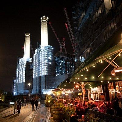 Bustling riverside dining at Battersea Power Station