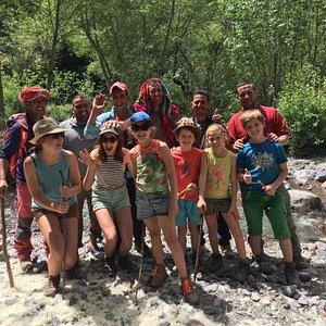 Family trekking in the Atlas Mountains