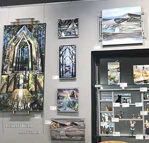 we offer a selection of pieces by local artist Leslie Kell