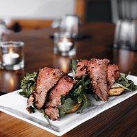 Grass-Fed Flank Steak with mushroom aloi