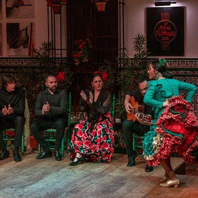 Susana Casas, El Junco, Cheito, Reyes Martín y Manuel Lucas. Patio de la Casa del Flamenco