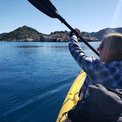 All smiles kayaking along the beautiful coast of Turkey!