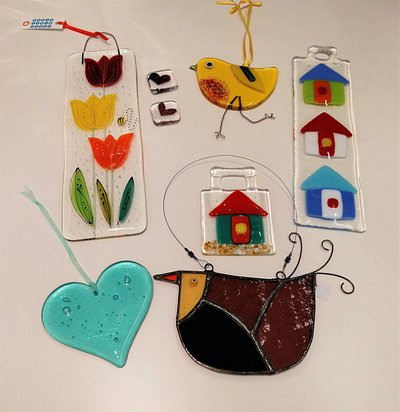 Glass decorations by various artists - all handmade in the UK.