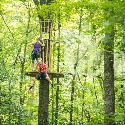 Ziplines up to 500 feet in length!