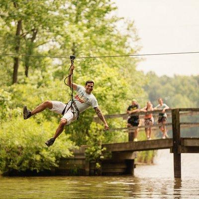 Ziplines over 600 feet in length! Five zips that go over Pine Lake!