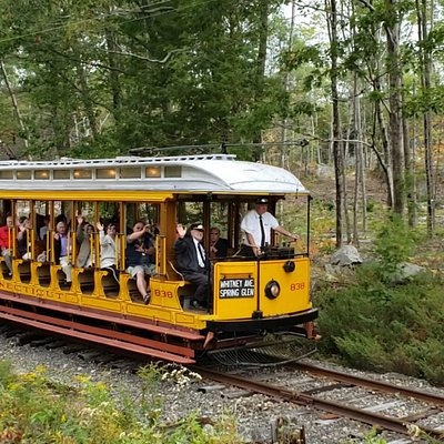 Guests take a ride on our private heritage railroad on our open car, Connecticut 303!