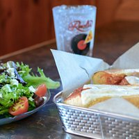 Meatball sub and Greek salad.  Sure to fill you up!
