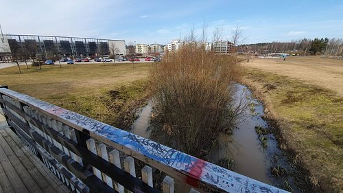 Small river and the shopping center