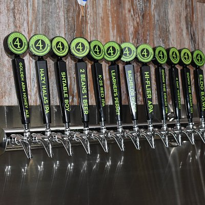 Door 4 Brewing Co. offers 36 handles of beer, ciders, hard seltzer, nitro coffee and more.